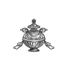 Bumpa vase buddhism religion symbol sketch vector