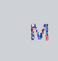 business people crowd forming shape letter m vector image