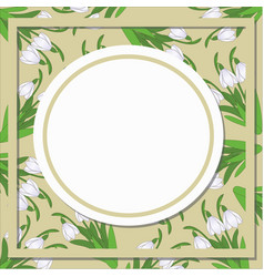 Card with round patterns of snowdrop vector