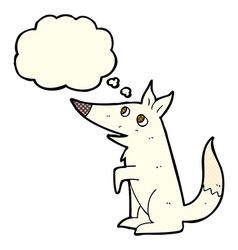 Cartoon wolf cub with thought bubble vector