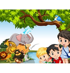 Children and wild animals by the pond vector