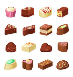 Chocolate candies and sweets dessert food vector