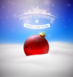 christmas background with red tree ball vector image