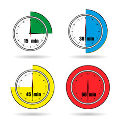 Clock icons stopwatch time from 15 minutes to 60 vector