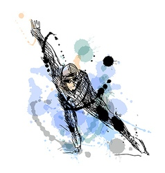 Colored hand drawing skater vector image