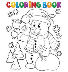 Coloring book snowman topic 3 vector