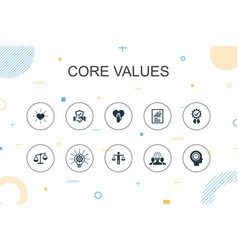 Core values trendy infographic template thin line vector