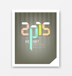 Cover Report origami paper 2015 year vector image