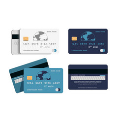 Credit card realistic plastic shapes for cashless vector