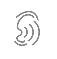 Ear with sound waves line icon hearing vector
