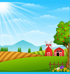 farm landscape with shed and windmill vector image