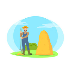 Farmer raking hay in sheaf cartoon icon vector
