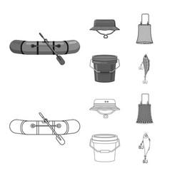 Fish and fishing icon set vector