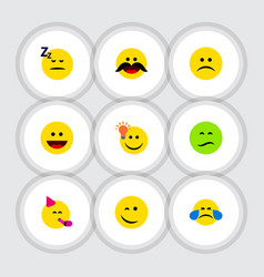 Flat icon gesture set of asleep frown sad and vector