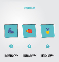 flat icons ice boot boxing reward and other vector image