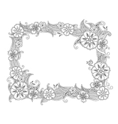 Floral hand drawn horizontal frame in entangle vector