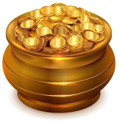 Full ceramic pot with gold coins vector