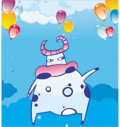 funky cow in sky vector image