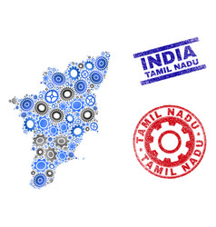 gear composition tamil nadu state map and vector image