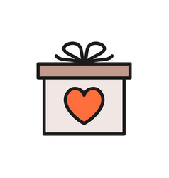 gift with heart valentine day flat color icon vector image