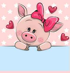 Greeting card cute cartoon pig is holding a vector