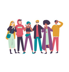 group diverse happy people muti-ethnic standing vector image