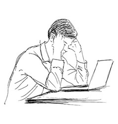 Hand sketch of a man working with computer vector image