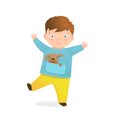 happy joyful preschooler brunet kid boy playful vector image