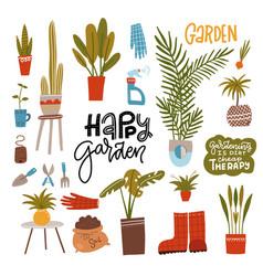 home gardening set with garden tools plants vector image