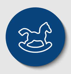 Horse toy sign white contour icon in dark vector