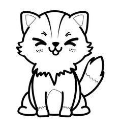 Isolated cute standing fox vector