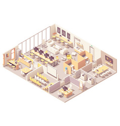 isometric coworking space interior plan vector image
