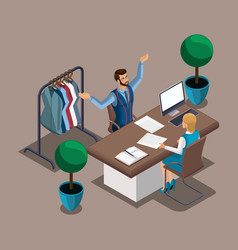isometric tailor proves to a bank employee that he vector image