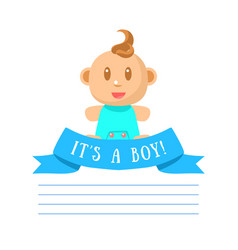 Its boy invitation card banner template with cute vector