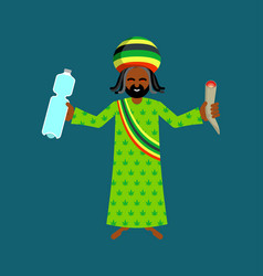 jah god for rastafarian rasta hat and deredy vector image