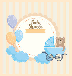 label teddy bear with carriage and balloons vector image