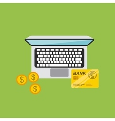 Laptop computer and credit card icon vector