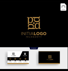 luxury gold initial d logo template and business vector image