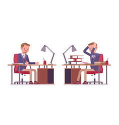 Male office secretary busy with boring paper work vector