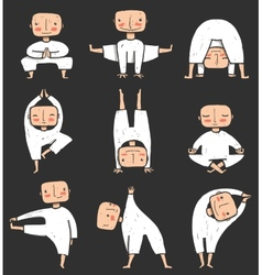 Man doing Yoga Asana Collection vector