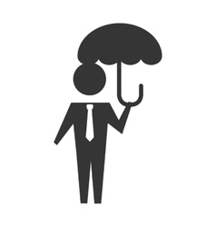 man umbrella holding icon graphic vector image