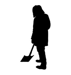 man with a shovel silhouette isolated on white vector image