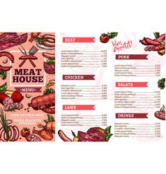 Meat restaurant meals menu vector