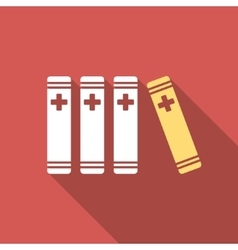 Medical Books Flat Square Icon with Long Shadow vector