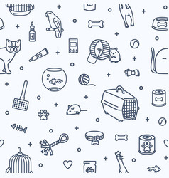 monochrome seamless pattern with domestic animals vector image