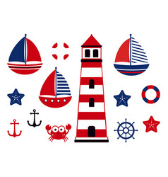 Nautical baby set marine vector