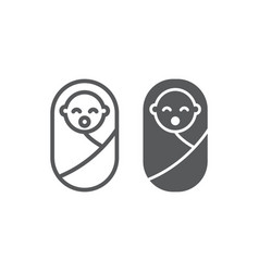 New born baby line and glyph icon child vector