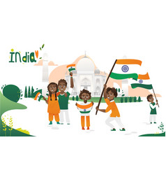 people with indian flags taj mahal india poster vector image