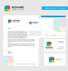 puzzle game business letterhead envelope and vector image