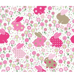rabbits flowers vector image
